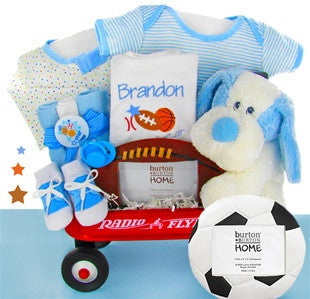 Personalized Sports Puppy Baby Boy Wagon Set
