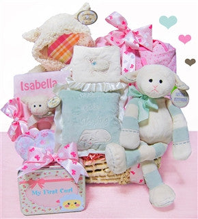 Personalized Baby Girl Lamb Gift Basket