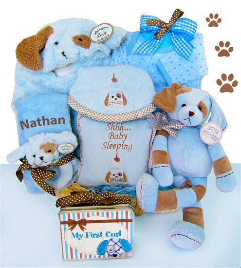 Personalized Baby Boy Puppy Gift Basket