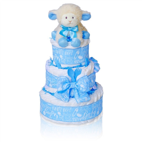 Precious Little Lamb Baby Boy Diaper Cake