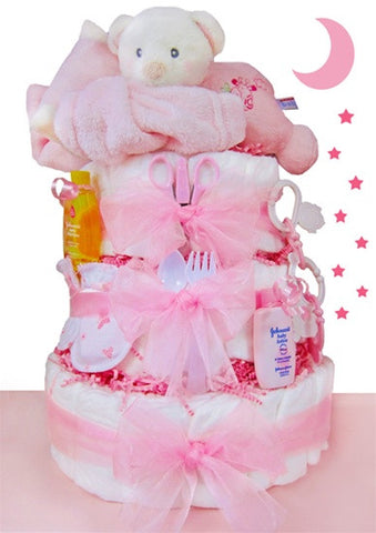 Sleep Tight Baby Girl Diaper Cake