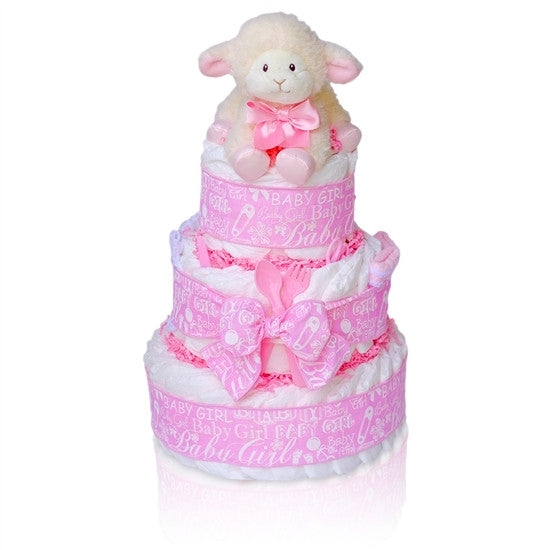 Precious Little Lamb Baby Girl Diaper Cake