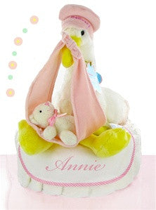 Personalized Stork Baby Girl Diaper Cake