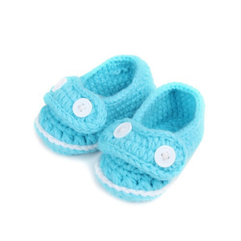 Light Blue Crochet Baby Boy Shoes