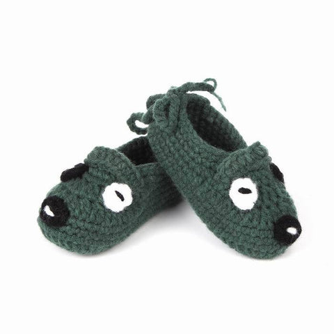 Dark Green Puppy Baby Shoes for Boys