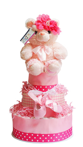 80 Diapers Three Tier Baby Girl Diaper Cake Pink Teddy Bear