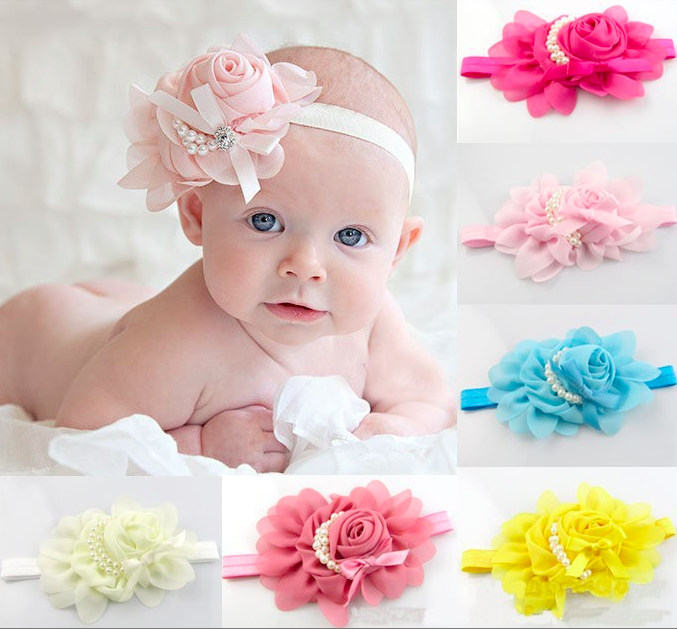 Chiffon Baby Headband with Pearls