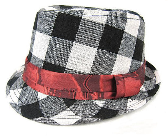 Kid's Checkered Cowboy Fedora Hat
