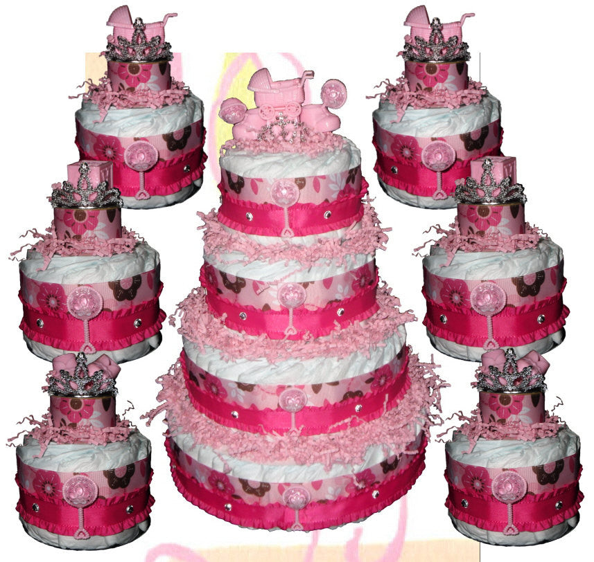 Pink & Brown Diaper Cake, Baby Shower Centerpiece 7pc Set