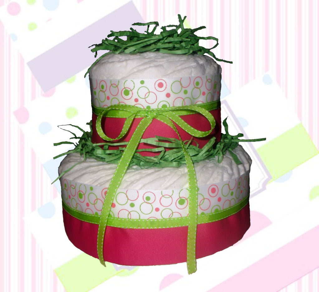 Pink & Green Circles Small Diaper Cake for Girl, Girl Diaper Cake Centerpiece, Baby Shower Centerpiece