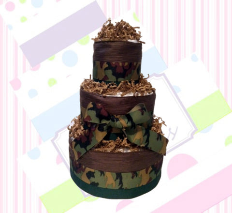 Camouflage Baby Shower Diaper Cake