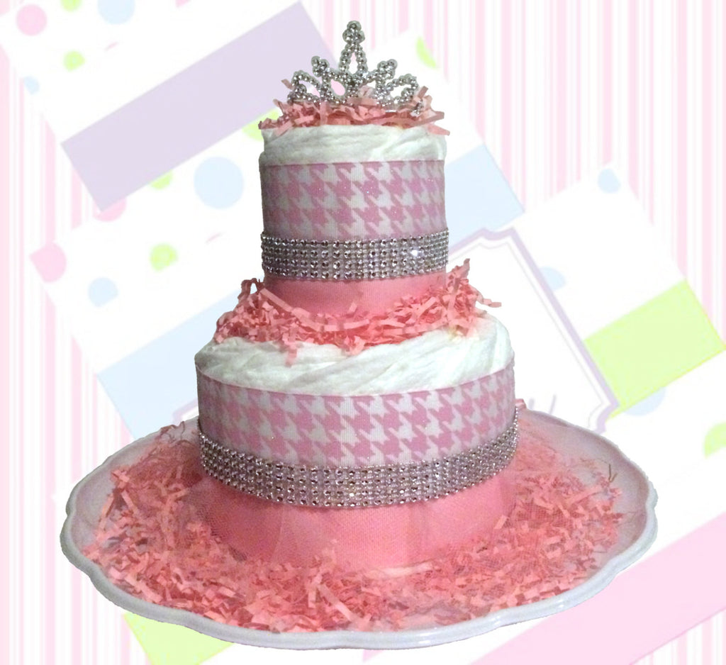 Pink and Silver Small Diaper Cake Centerpiece with Rhinestones, Girl Diaper Cake, Diaper Cake Set, Handstooth Diaper Cake