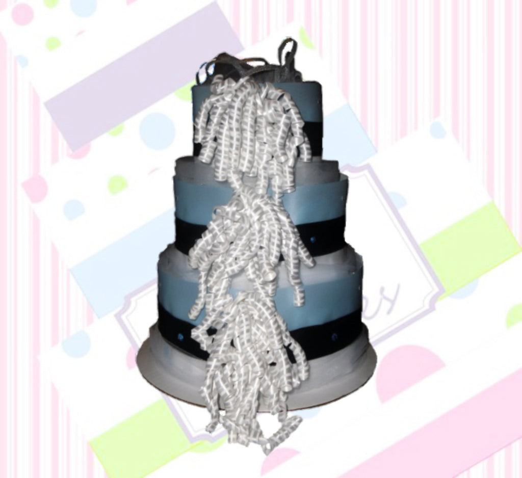 Blue, Black, & White Baby Boy Diaper Cake