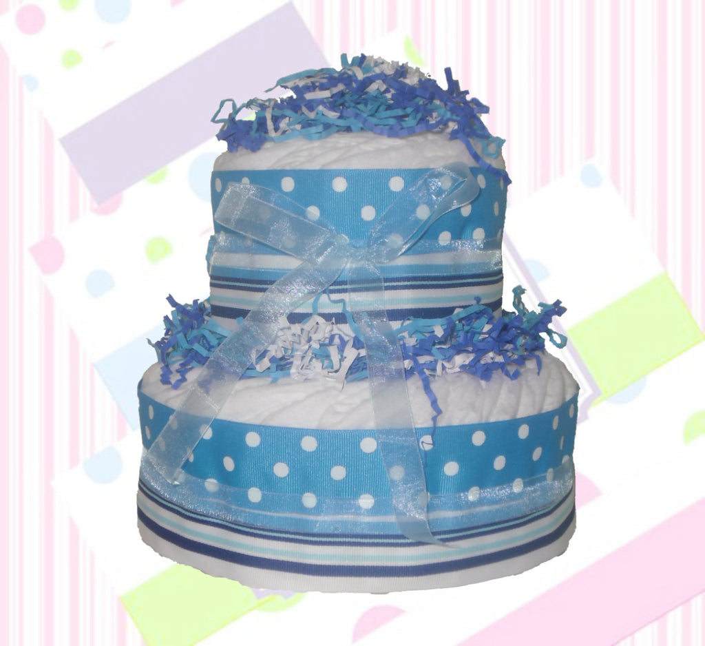 Blue & White Mini Diaper Cake for Boy