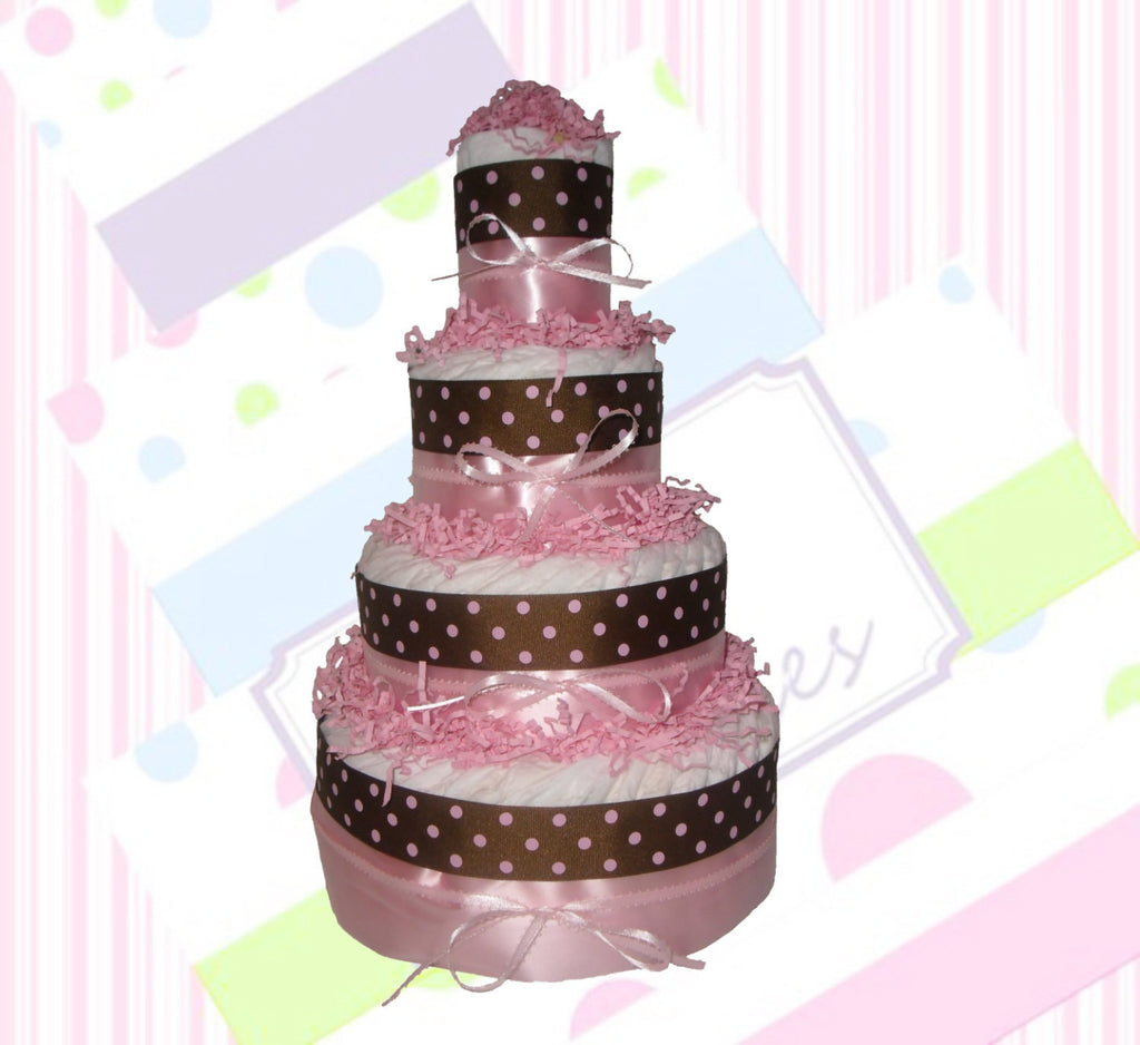 Girl Diaper Cake - Pink & Brown with Polka Dots