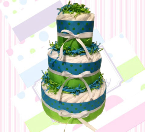 Blue & Green Polka Dot Diaper Cake for Boy