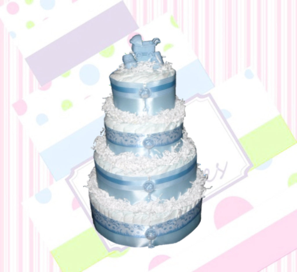4-Tier Blue Diaper Cake, Baby Shower Centerpiece