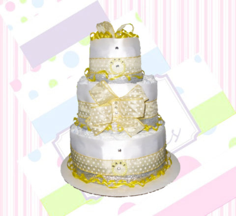 Yellow and White Polka Dot Diaper Cake, Gender Neutral Diaper Cake Centerpiece, Baby Shower Centerpiece