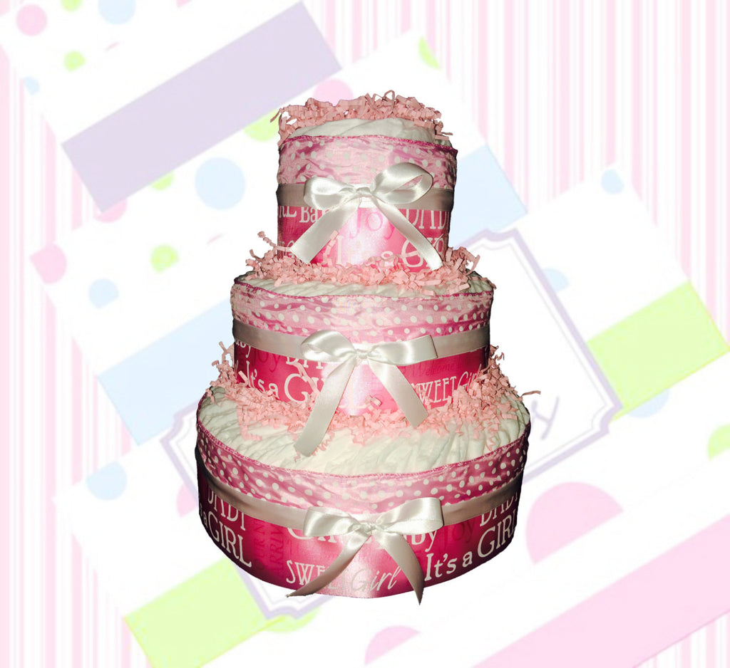Pink and White Welcome Baby Diaper Cake Kit, Diaper Cake Centerpiece, Girl Diaper Cake