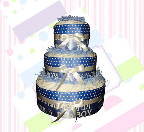 DIY Blue and White Welcome Baby Diaper Cake Kit, Diaper Cake Centerpiece, Boy Diaper Cake