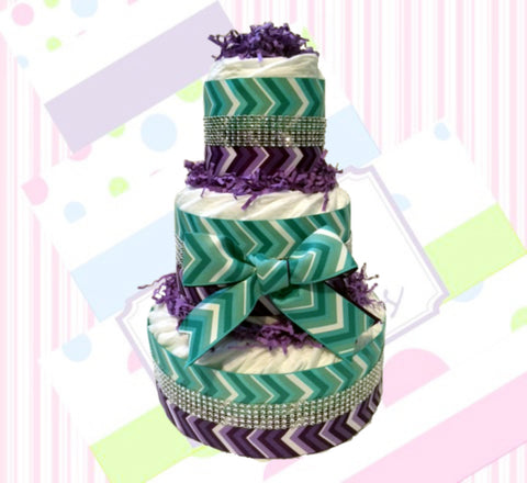 Purple & Teal Chevron Diaper Cake for Girl