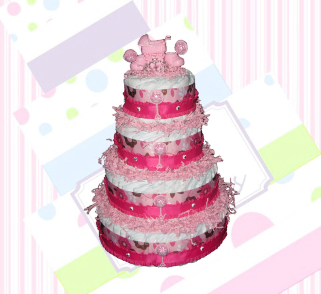 4-Tier Pink Diaper Cake, Baby Shower Centerpiece, Girl Diaper Cake Centerpiece