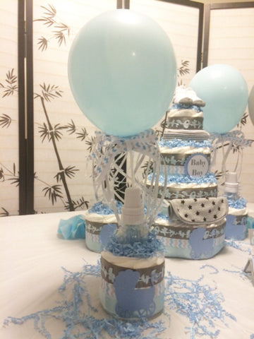 Set of 4 - Mini Diaper Cake Centerpiece for Boy/Baby Shower Centerpiece
