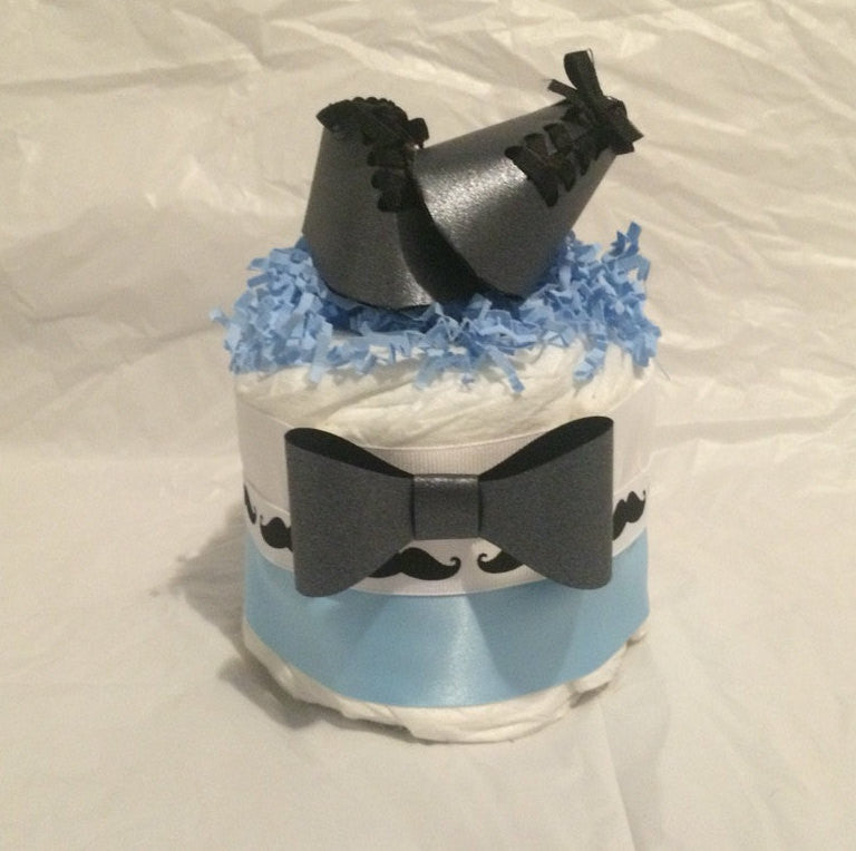 Set of 4 - Bow Tie Baby Shower Mini Diaper Cake Centerpieces, Boy Diaper Cakes
