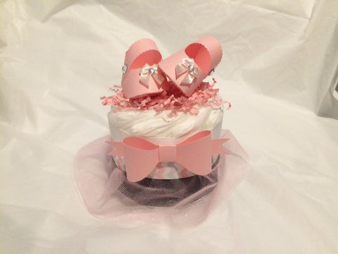 Set of 4 -Pink and Black Bow and Tutu Baby Shower Mini Diaper Cake Centerpiece