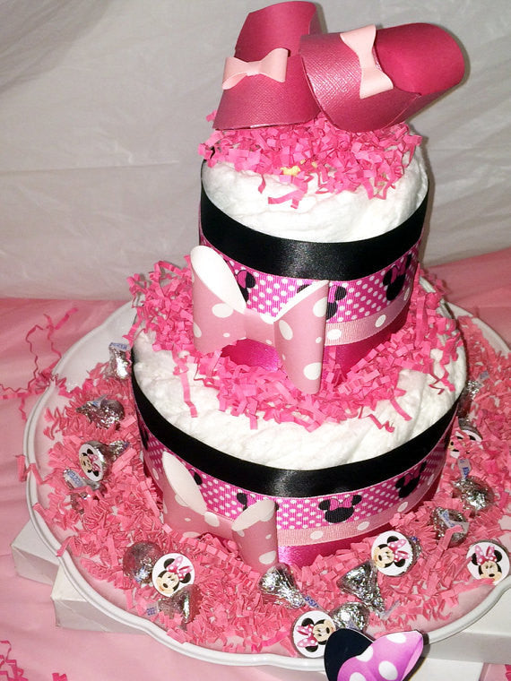 Minnie Mouse Small Diaper Cake Centerpiece