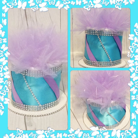 Set of 4 - Lavender and Turquoise Mini Diaper Cake Centerpieces/Balloon Weights/Baby Shower Centerpieces