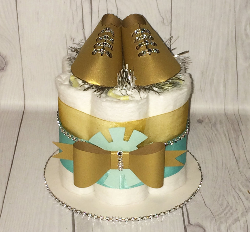 Set of 4 - Aqua, Gold, & Silver Mini Diaper Cake Centerpieces/Balloon Weights/Baby Shower Centerpieces