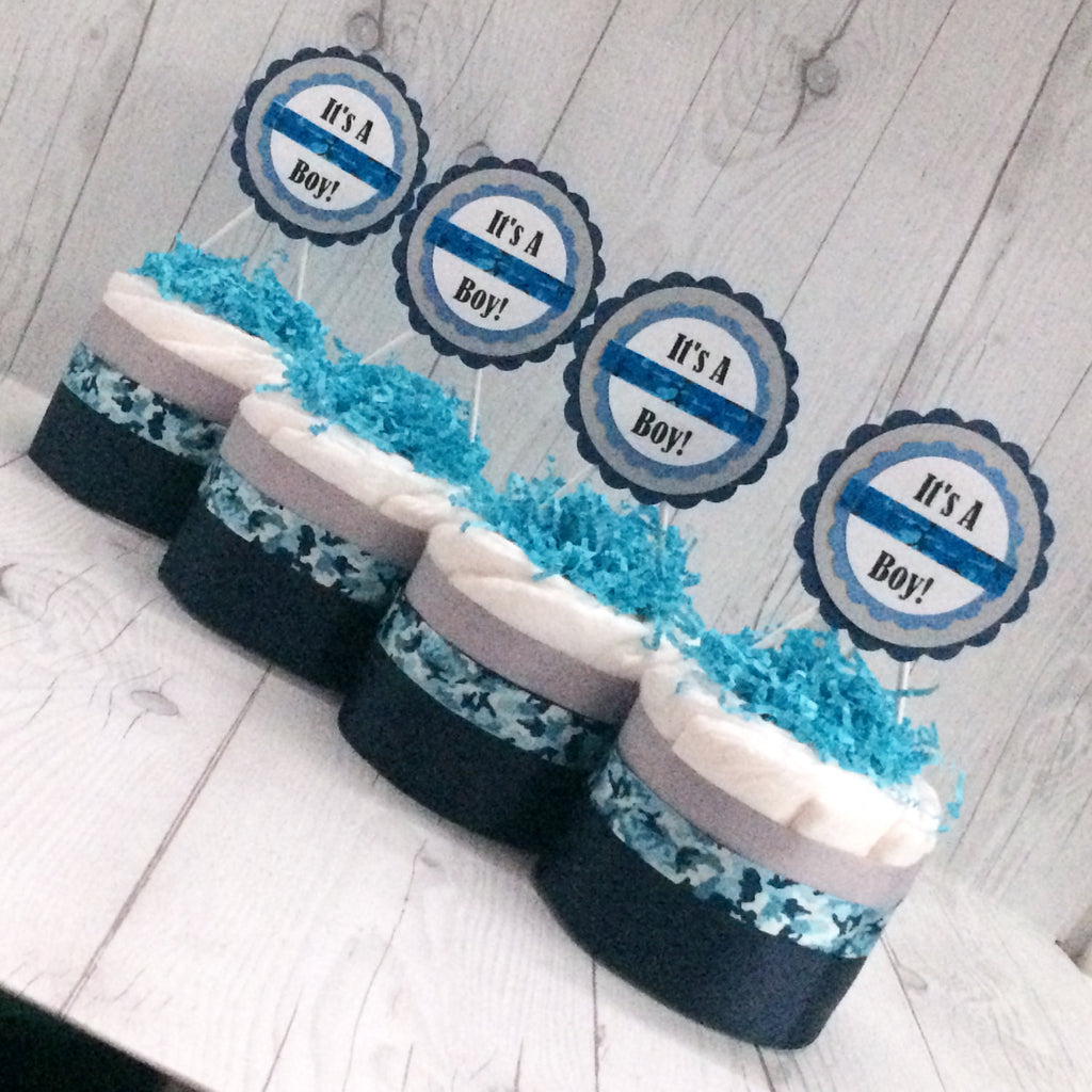 Set of 4 - Blue and White Camouflage Mini Diaper Cake Centerpieces, Baby Shower Centerpieces, Balloon Weights, Boy Diaper Cake Set