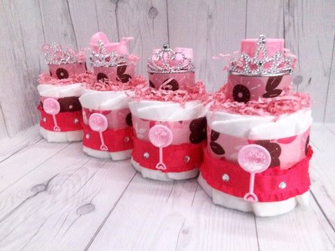 Set of 4 - Pink& Brown Baby Shower Centerpieces, Girl Diaper Cake Set, Diaper Cake Centerpieces