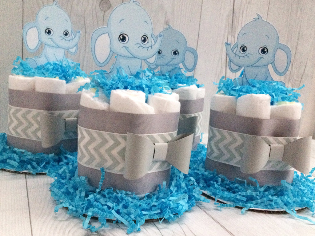 Set of 4 - Blue Baby Elephant Mini Diaper Cake Centerpiece
