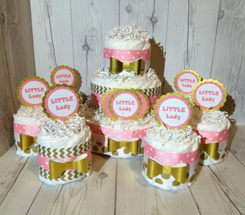 7pc Little Lady Diaper Cake Centerpiece Set, Baby Shower Centerpiece, Girl Diaper Cake Set, Chevron Diaper Cakes, Pink and Gold Diaper Cake