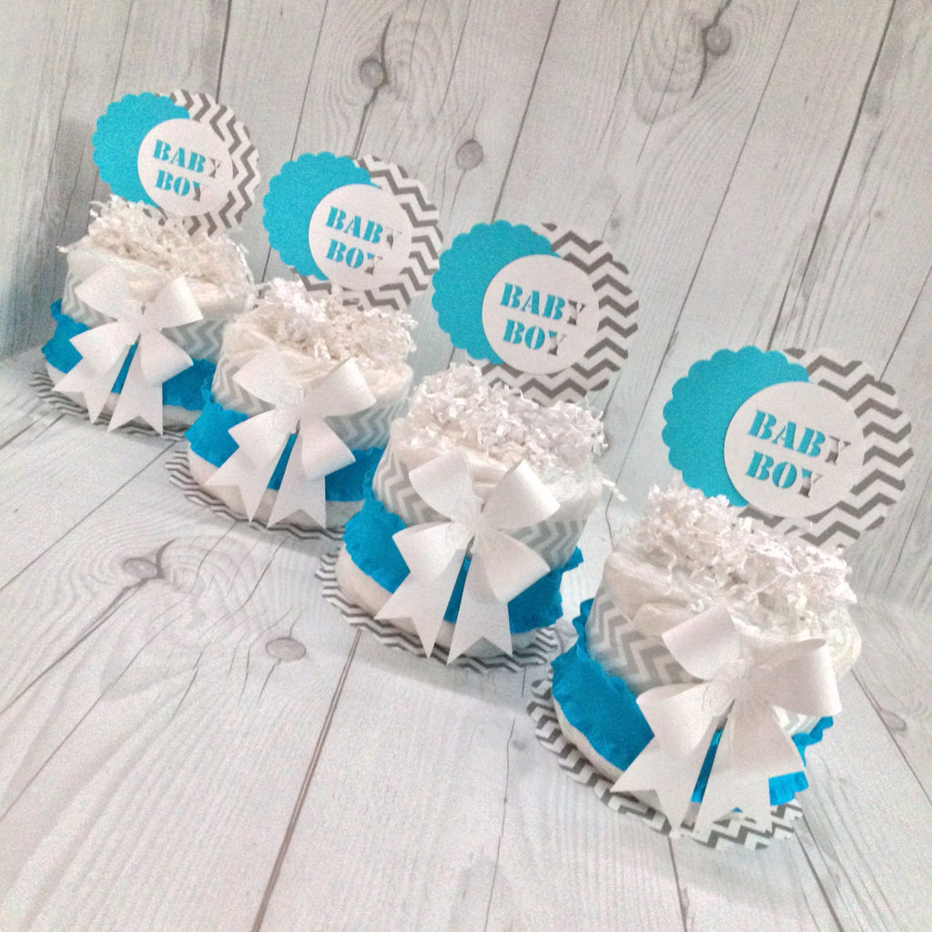 DIY Mini Diaper Cake Centerpiece kit - Turquoise, Gray, and White Chevron, D.I.Y. Diaper Cake, Diaper Cake Centerpieces, Boy Diaper Cake Kit