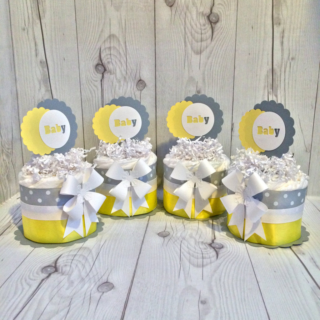 DIY Gender Neutral Mini Diaper Cake Centerpiece kit - Gray and Yellow, D.I.Y. Diaper Cake, Diaper Cake Centerpieces, Neutral Diaper Cake Kit
