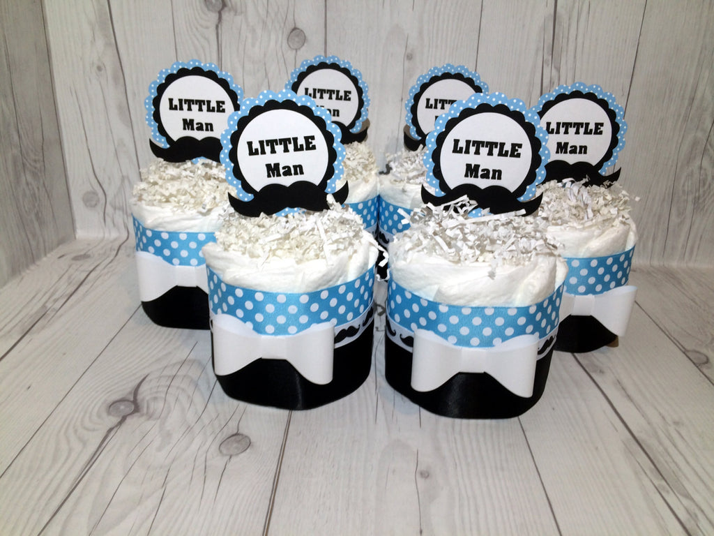 Set of 4 - Little Man Diaper Cake Centerpieces, Boy Diaper Cake, Baby Shower Centerpiece Set