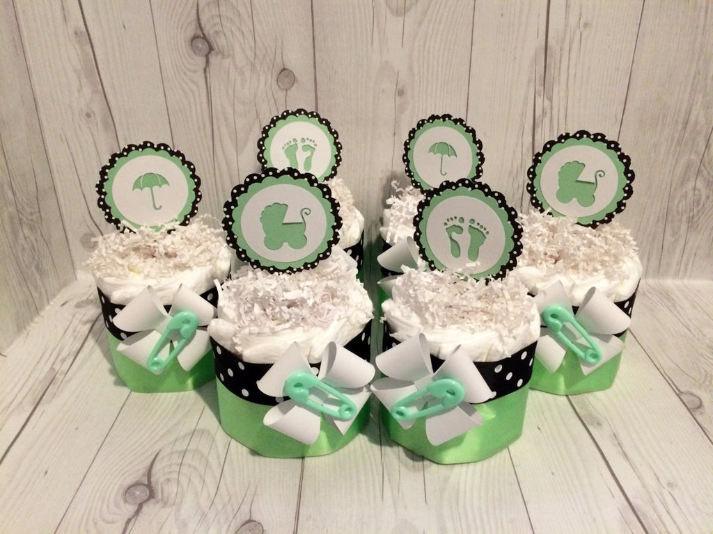 Set of 4 - Mint Green and Black Polka Dot Diaper Cake Centerpieces, Baby Shower Centerpiece Set, Neutral Diaper Cakes