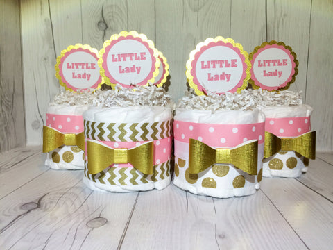 Set of 4 - Pink and Gold Little Lady Diaper Cake Centerpieces, Baby Shower Centerpiece Set, Girl Diaper Cakes, Diaper Cake Set