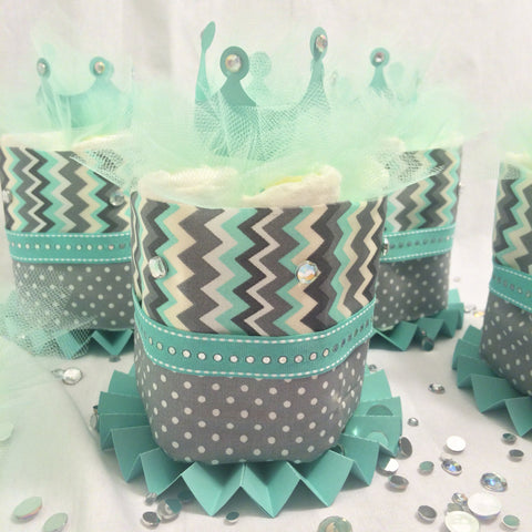 Set of 4 - Teal, Gray, and White Chevron Mini Diaper Cake Centerpieces, Baby Shower Centerpieces, Gender Neutral Diaper Cake Set