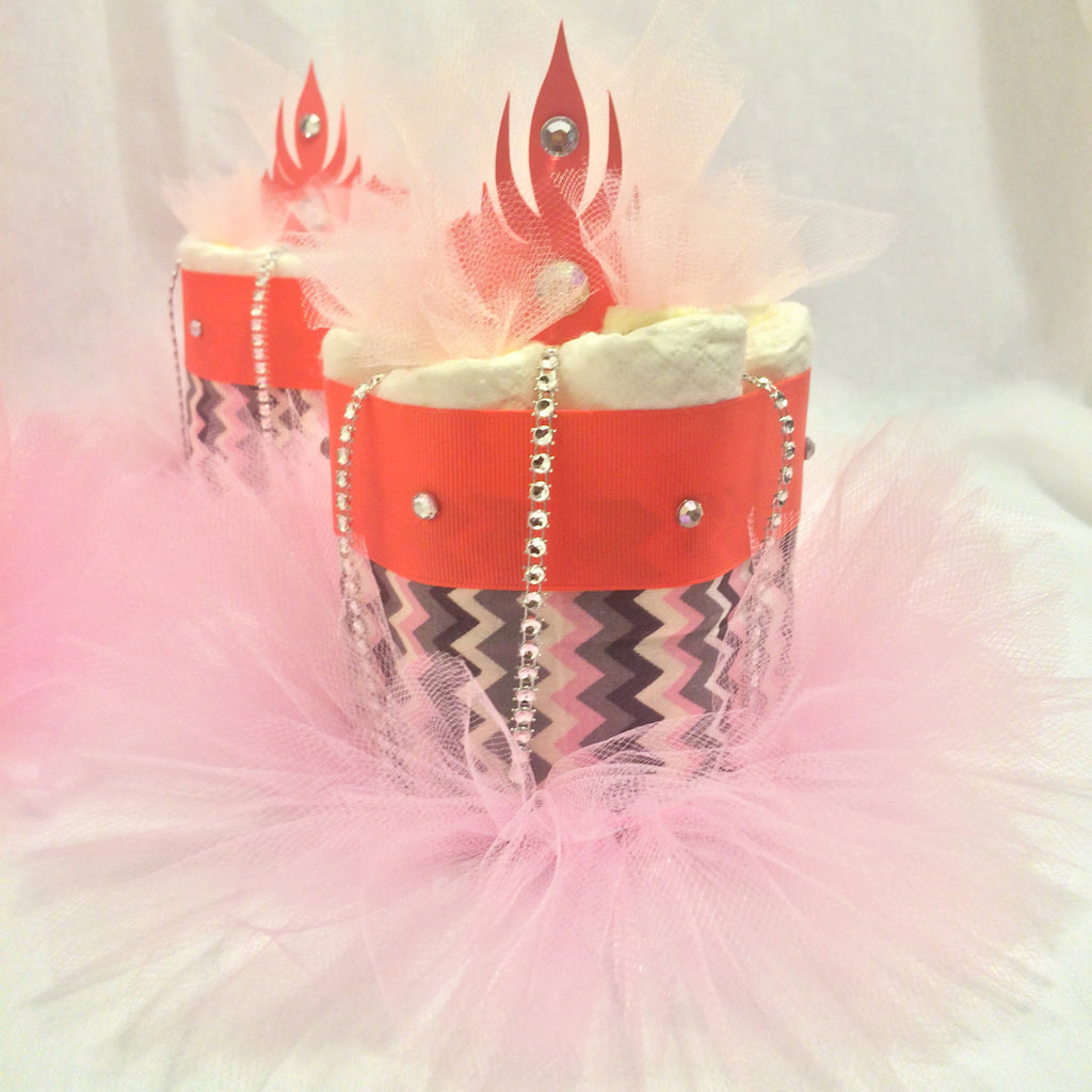 Set of 4 - Coral, Pink, and Gray Chevron Mini Diaper Cake Centerpieces, Baby Shower Centerpieces, Girl Diaper Cake Set