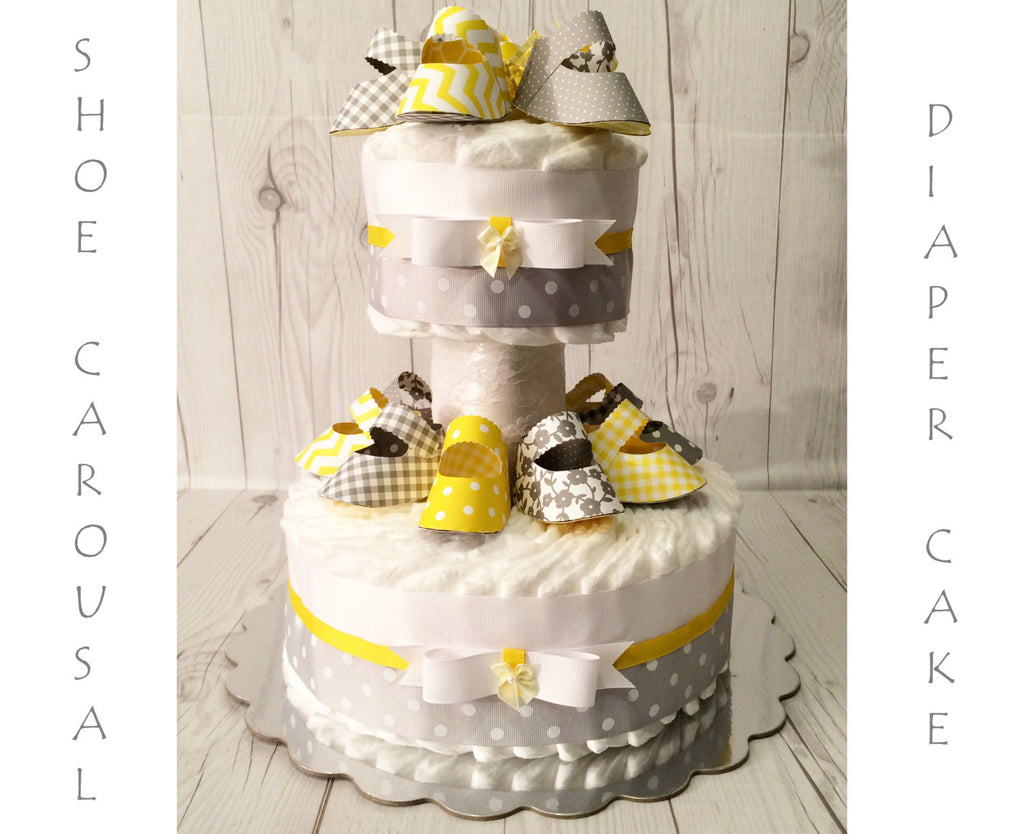 Yellow & Gray Baby Shoe Carousal Gender Neutral Diaper Cake Centerpiece, Gender Neutral Baby Shower, Gender Neutral Diaper Cake