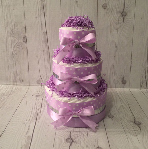 Purple Polka Dot and Silver Diaper Cake Centerpiece, Girl Diaper Cake, Baby Shower Centerpiece, Diaper Cake Gift