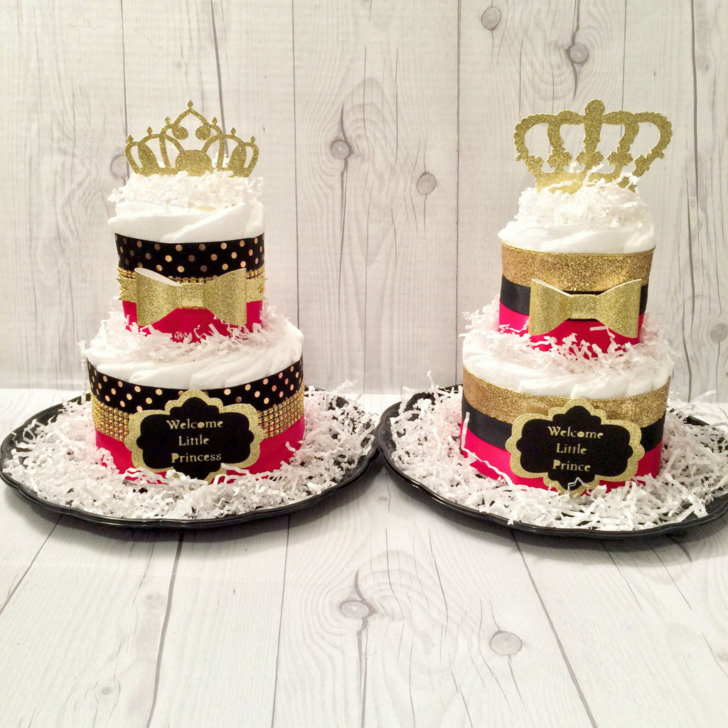 Little Prince and Princess Diaper Cake Centerpiece Set, Baby Shower Centerpiece, Gender Reveal Diaper Cake,  Royal Diaper Cake for Twins