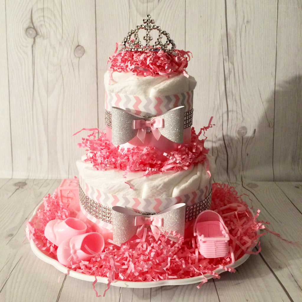 Pink & Gray Chevron Small Diaper Cake Centerpiece with Rhinestones, Girl Diaper Cake, Diaper Cake Set, Chevron Diaper Cake