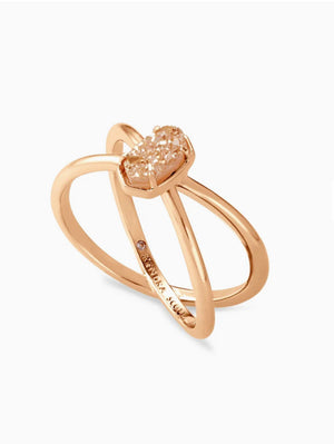 Emilie Rose Gold Double Band Ring In Sand Drusy
