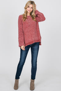 The Velvet Yarn Oversized Sweater in Marsala