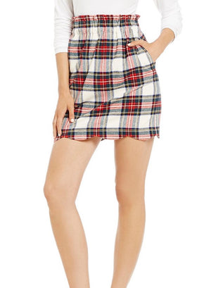 Lauren James Scalloped Plaid Skirt